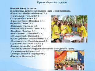Перечень мастер – классов, проведенных в рамках реализации проекта «Город ма