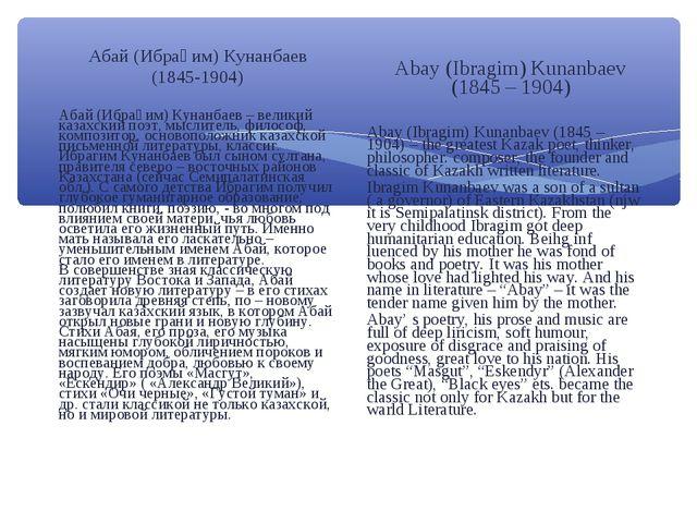 Абай (Ибраһим) Кунанбаев (1845-1904) Абай (Ибраһим) Кунанбаев – великий казах...