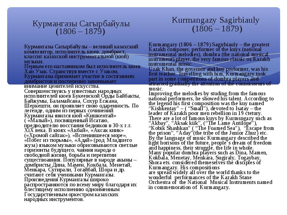 Курмангазы Сагырбайулы (1806 – 1879) Курмангазы Сагырбайулы – великий казахск...