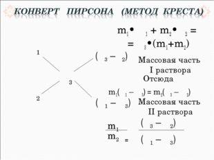 m1• ω1 + m2•ω2 = = ω3•(m1+m2) Отсюда m1(ω1 – ω3) = m2(ω3 – ω2)  = m1 m2 (ω3