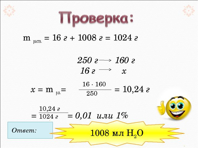 m раств. = 16 г + 1008 г = 1024 г 250 г 160 г 16 г  х  х = m р.в.=...
