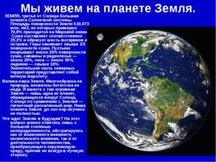 Мы живем на планете Земля.  ЗЕМЛЯ, третья от Солнца большая планета Солнечно