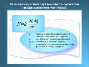 Сила взаимодействия двух точечных неподвижных зарядов называется кулоновской.