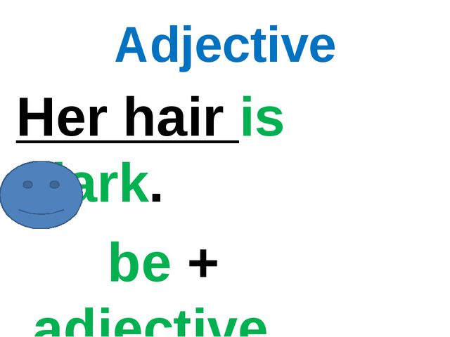 Adjective Her hair is dark. be + adjective.