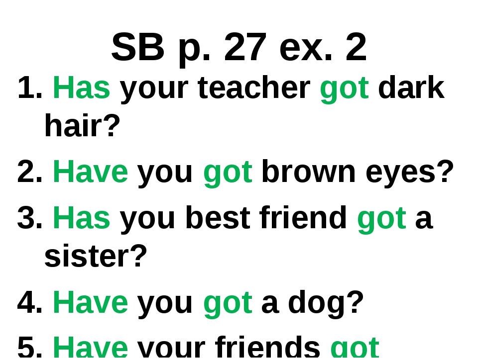 SB p. 27 ex. 2 1. Has your teacher got dark hair? 2. Have you got brown eyes?...