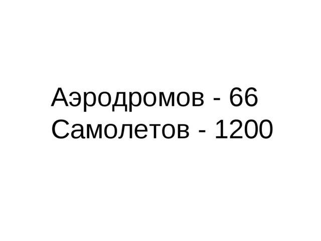 Аэродромов - 66 Самолетов - 1200