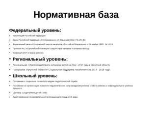 Нормативная база Федеральный уровень: Конституция Российской Федерации Закон