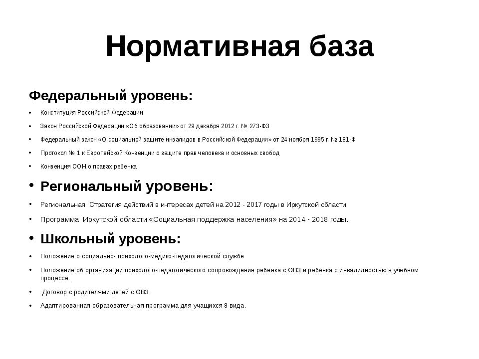 Нормативная база Федеральный уровень: Конституция Российской Федерации Закон...