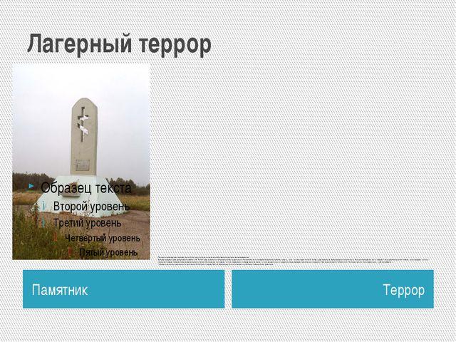 Лагерный террор Памятник Террор Расстрелы проводились повсеместно по Ухтпечла...