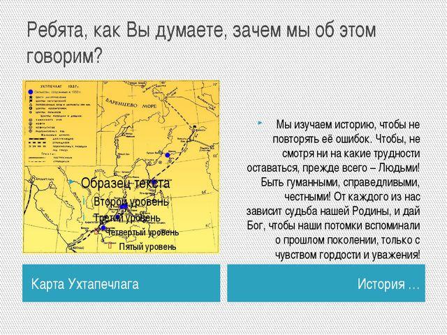 Ребята, как Вы думаете, зачем мы об этом говорим? Карта Ухтапечлага История …...