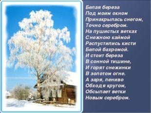Белая береза Под моим окном Принакрылась снегом, Точно серебром. На пушист