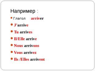Например : Глагол arriver J'arrive Tu arrives Il/Elle arrive Nous arrivons Vo