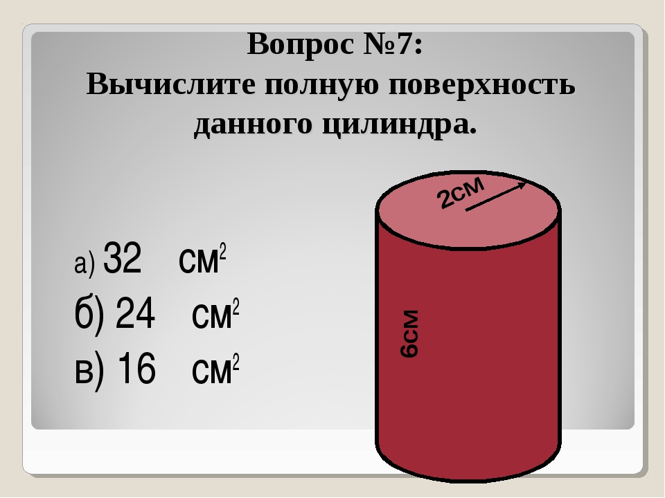 Вопрос №7: Вычислите полную поверхность данного цилиндра. а) 32π см2 б) 24π с...