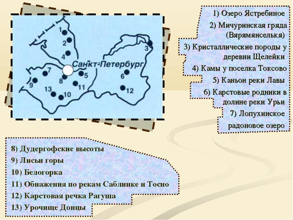 1) Озеро Ястребиное 2) Мичуринская гряда (Вярямянселькя) 3) Кристаллические п...