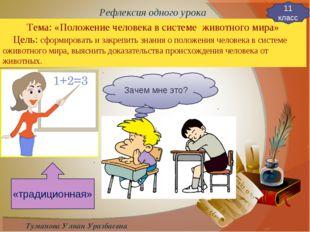 Туманова Улпан Уразбаевна Тема: «Положение человека в системе животного мира»