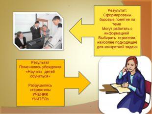 Результат: Сформированы базовые понятие по теме Могут работать с информацией