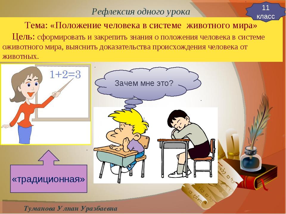 Туманова Улпан Уразбаевна Тема: «Положение человека в системе животного мира»...