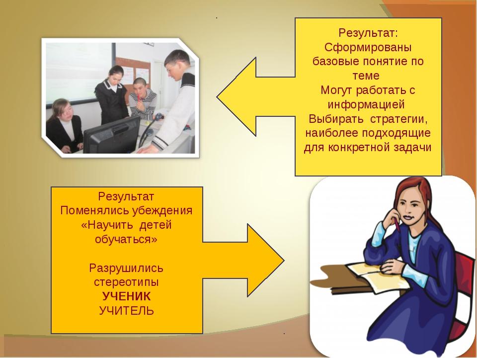 Результат: Сформированы базовые понятие по теме Могут работать с информацией...