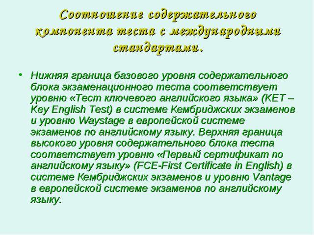 Соотношение содержательного компонента теста с международными стандартами. Ни...