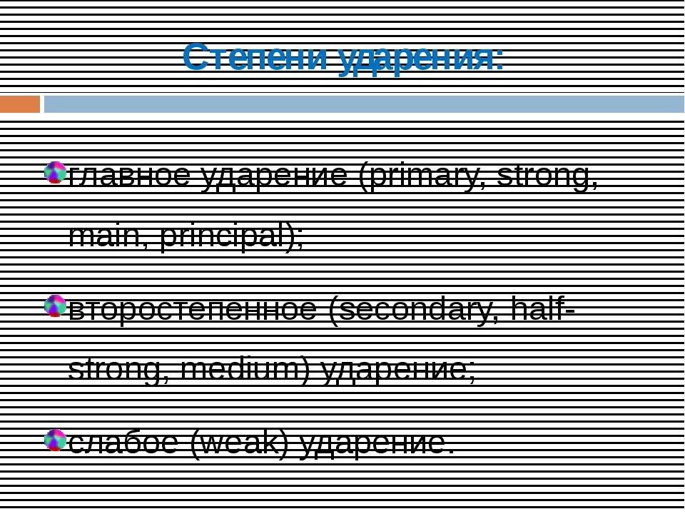 Степени ударения: главное ударение (primary, strong, main, principal); второс...