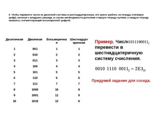 8. Чтобы перевести число из двоичной системы в шестнадцатеричную, его нужно р