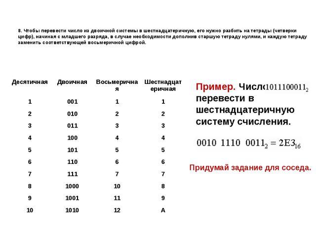 8. Чтобы перевести число из двоичной системы в шестнадцатеричную, его нужно р...