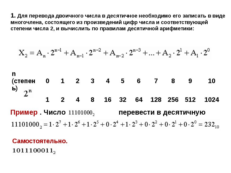 1. Для перевода двоичного числа в десятичное необходимо его записать в виде м...