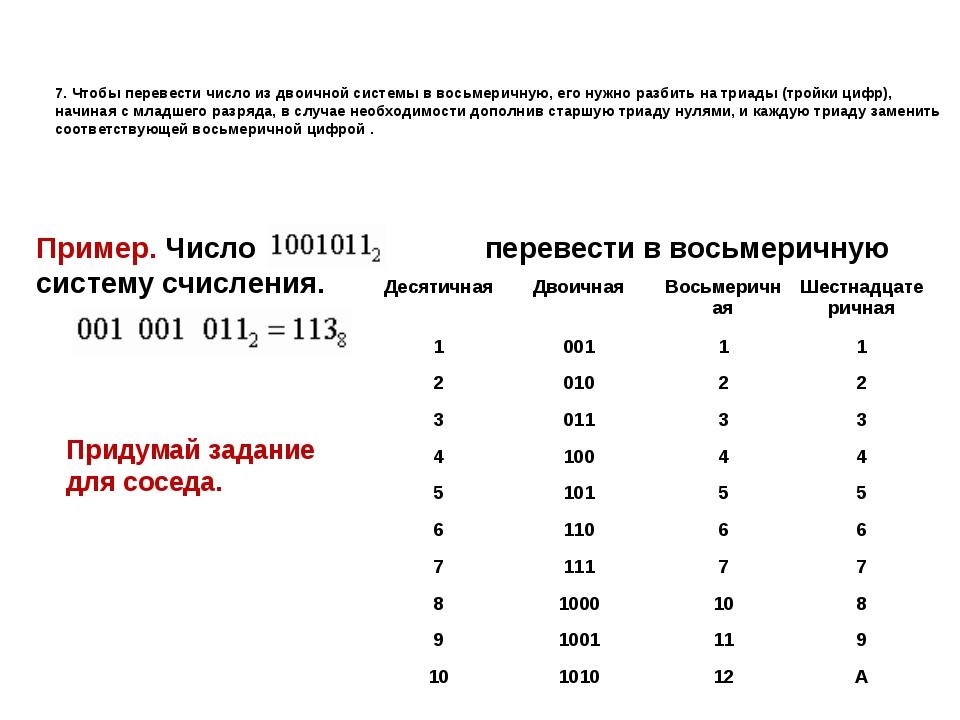 7. Чтобы перевести число из двоичной системы в восьмеричную, его нужно разбит...