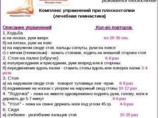 Комплекс упражнений при плоскостопии (лечебная гимнастика) Описание упражнен