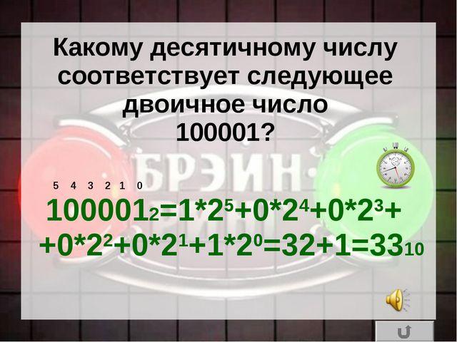 Какому десятичному числу соответствует следующее двоичное число 100001? 10000...