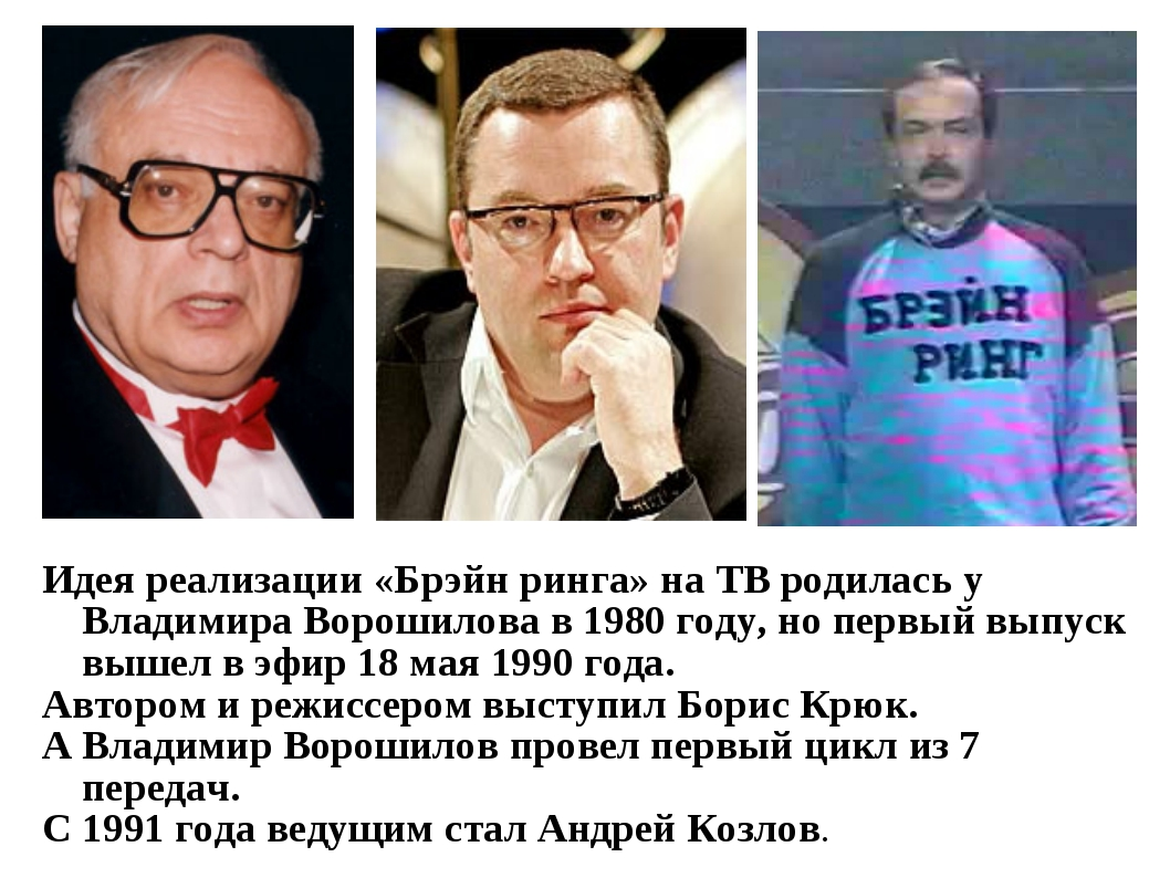 Идея реализации «Брэйн ринга» на ТВ родилась у Владимира Ворошилова в 1980 го...