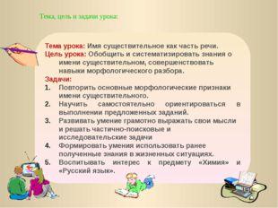Тема, цель и задачи урока: Тема урока: Имя существительное как часть речи. Це
