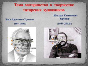 Баки Идрисович Урманче 1897-1990г. Тема материнства в творчестве татарских ху