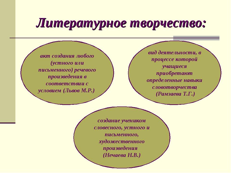 Литературное творчество: акт создания любого (устного или письменного) речево...