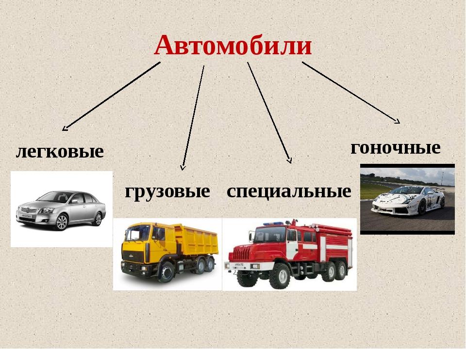 Автомобили легковые гоночные специальные грузовые