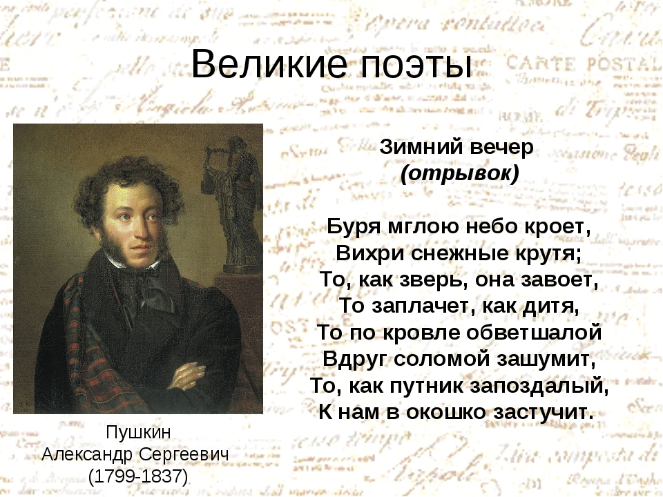 Великие поэты Пушкин Александр Сергеевич (1799-1837) Зимний вечер (отрывок) Б...