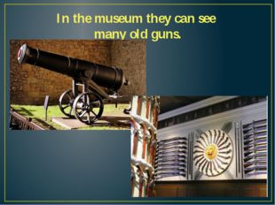 In the museum they can see many old guns.