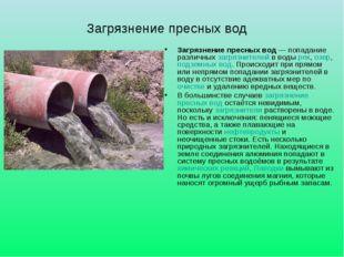 Загрязнение пресных вод Загрязнение пресных вод— попадание различныхзагряз