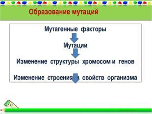 Образование мутаций Мутагенные факторы Мутации Изменение структуры хромосом и