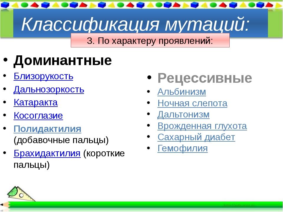 Доминантные Близорукость Дальнозоркость Катаракта Косоглазие Полидактилия (д...