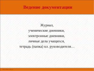 Ведение документации Журнал, ученические дневники, электронные дневники, личн