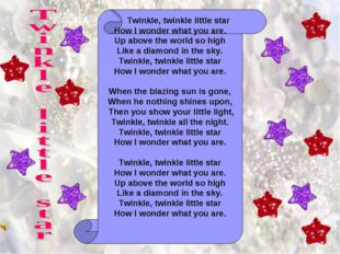 Twinkle, twinkle little star How I wonder what you are. Up above the world s