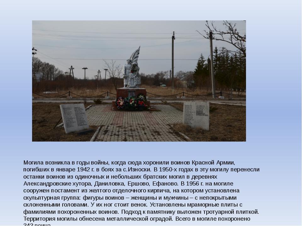 Могила возникла в годы войны, когда сюда хоронили воинов Красной Армии, погиб...