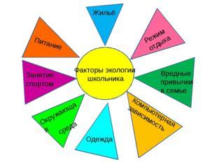 Факторы экологии школьника Питание Занятия спортом Окружающая среда Режим от