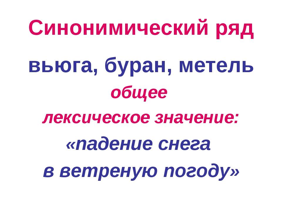 Синонимический ряд вьюга, буран, метель общее лексическое значение: «падение...