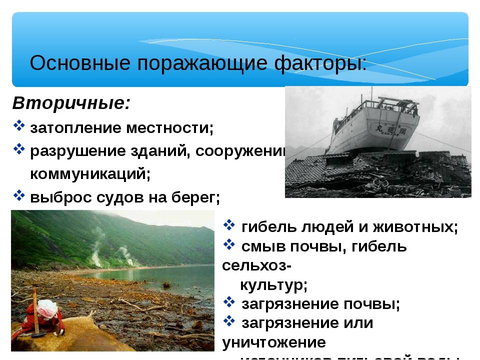 Основные поражающие факторы: Вторичные: затопление местности; разрушение здан...