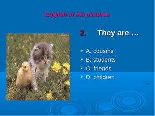 English in the pictures 2. They are … A. cousins B. students C. friends D. ch