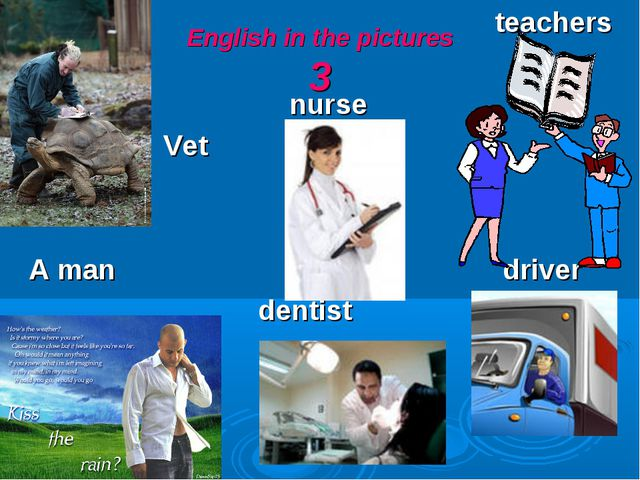 English in the pictures 3 teachers nurse Vet A man driver dentist