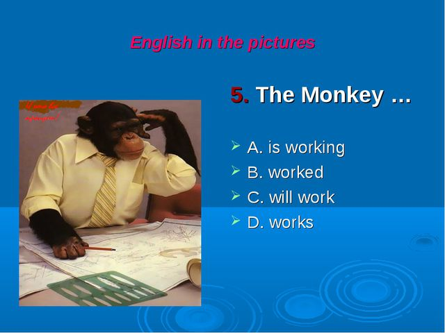 English in the pictures 5. The Monkey … A. is working B. worked C. will work...