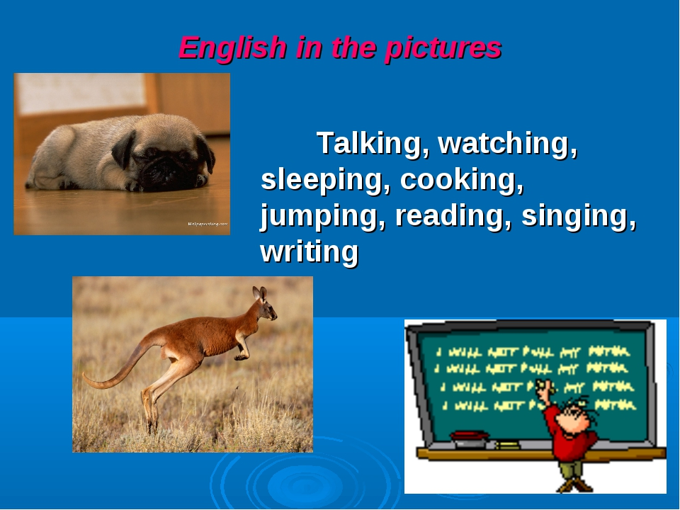 English in the pictures Talking, watching, sleeping, cooking, jumping, readin...